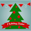 Holiday sale with christmas tree — Imagen vectorial