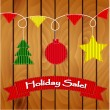 Stock Vector: Wooden holiday sale