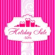 Stock Vector: Pink holiday sale