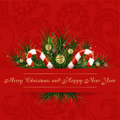 Red vector christmas card — Vettoriale Stock