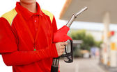 Gas Station Worker and service — Stock Photo