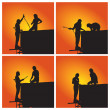 Silhouettes of worker welder — Stock Photo