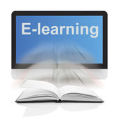 Books and computers, The concept E-learning — Stock Photo