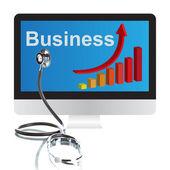 Stetoscopio, grafico di affari e computer — Foto Stock