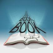 öppna boken med bokstäver boken — Stockfoto