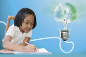 Schoolgirl and bulbs — Stock Photo