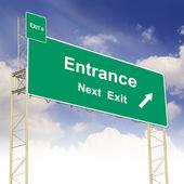 与文本入口道路标志概念 — 图库照片