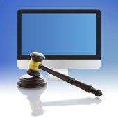 Judge gavel, Internet Auction — Stock Photo
