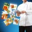 Stock Photo: Chef using digital tablet