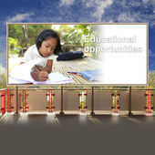 Student asian girl in countryside on billboard — Stock Photo