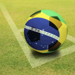 Brazil Ball on Green field — Stockfoto
