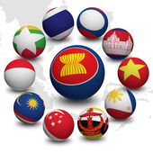 3D Ball of Asean Economic Community — Stock Photo