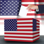Hand holding ballot and box with the USA flag in the background — Stock Photo