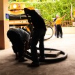 Waste disposal workers, Vacuum workers — Stock Photo