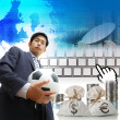 Business man with soccer ball  — Stock Photo