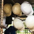 Old construction helmets — Stock Photo
