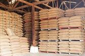 Sacks of rice in the warehouse — Foto de Stock