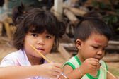 Asian students in countryside thailand — Stockfoto