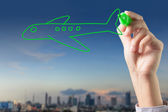 Hand drawing airplanes and the city — Stock Photo