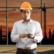 Male engineering using smart phone  — Stock Photo