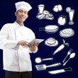 Chef using digital tablet — Stock Photo