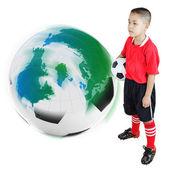 Dziecko piłkarz — Zdjęcie stockowe