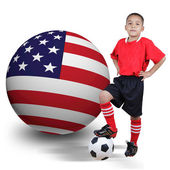 Child soccer player with United States of America — Stock Photo