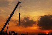 Silhouet van de bouwplaats — Stockfoto