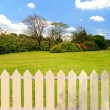 Stock Photo: White fences in garden