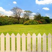 White fences in the garden — Stock Photo