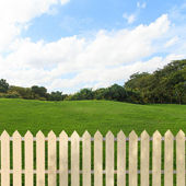 White fences in the garden — Stock Photo