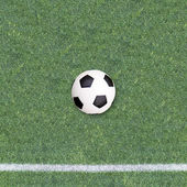 Soccer ball on Soccer field — Stock Photo