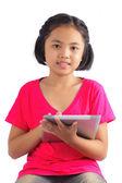 Dijital tablet ile kız — Stok fotoğraf