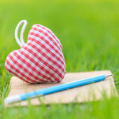 Fabric heart on diary — Foto Stock