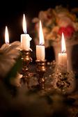 Fiore di nozze con candela — Foto Stock