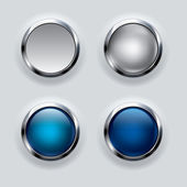 Silver button set on gray background — Stock Vector