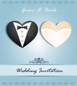 Vector wedding card in the form of heart with tuxedo and dress. — Stock Vector