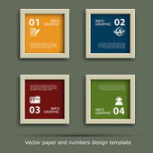 Vector paper and numbers icon design template — Vector de stock