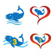 Vector logo omega fish on heart — Stock Vector #43540545