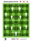 Soccer playing field with strategy elements. Soccer tactic diagram. — Stock Vector