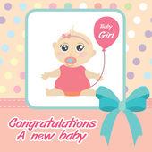 Vector card new born baby girl. — Stock Vector