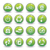 Ecology web icons green buttons.Ecology icon set — Stock Vector
