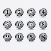 Buttons with number — Cтоковый вектор