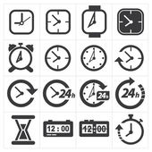 Time and clock icon set — Stock Vector