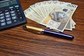 Money calculator pen — Stock Photo