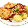Fried pork chop with potatoes — Stock Photo
