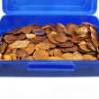 Stock Photo: Money pennies and fortunately carp scales