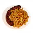 Sausage and chips — Stock Photo #35601883