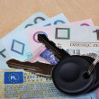 Stock Photo: Documents car keys and money