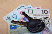 Documents car keys and money — Stock Photo